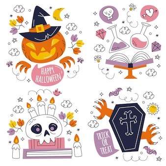Ręcznie rysowane kolekcja naklejek na halloween