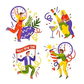 Ręcznie rysowane kolekcja naklejek nowego roku