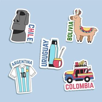 Ręcznie rysowane kolekcja naklejek podróżnych