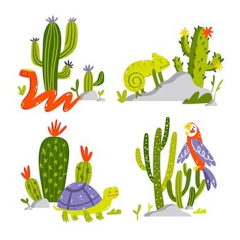 Ręcznie rysowane kolekcja naklejek przyrody