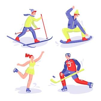 Ręcznie rysowane kolekcja naklejek sportowych