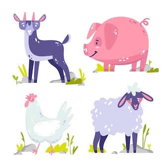Ręcznie rysowane kolekcja naklejek zwierząt
