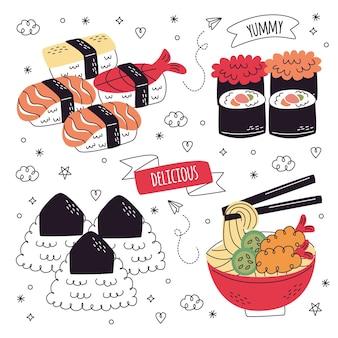 Ręcznie rysowane kolekcja naklejek żywności