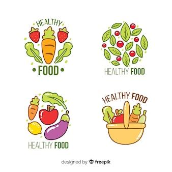 Ręcznie rysowane kolekcja naturalnej żywności etykiety