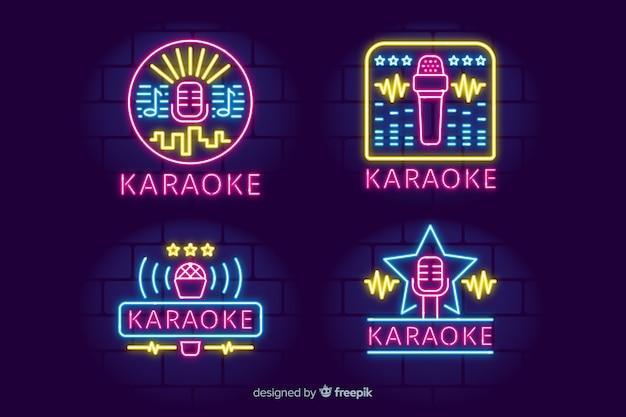 Ręcznie rysowane kolekcja neon light karaoke