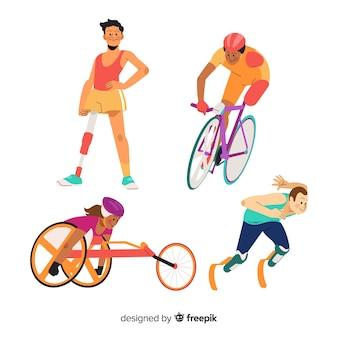 Ręcznie rysowane kolekcja niepełnosprawnych sportowców