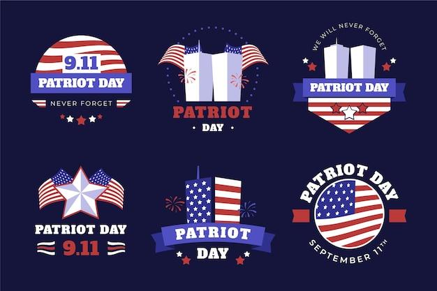 Ręcznie rysowane kolekcja odznak dnia patrioty 9.1111