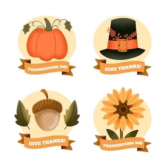 Ręcznie Rysowane Kolekcja Odznak Dziękczynienia Darmowych Wektorów