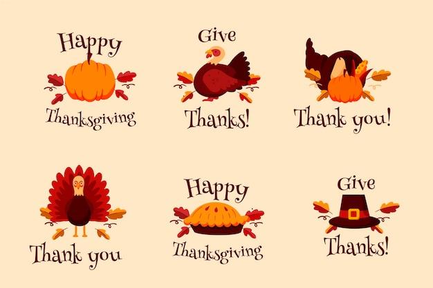Ręcznie rysowane kolekcja odznak dziękczynienia