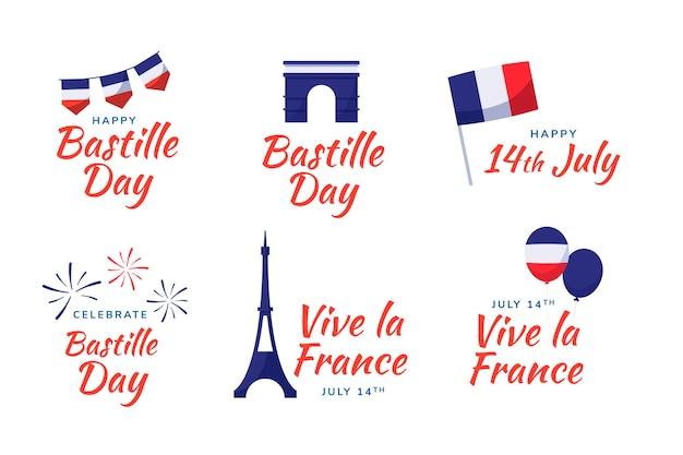Ręcznie rysowane kolekcja odznak dzień bastylii