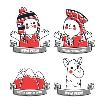 Ręcznie rysowane kolekcja odznak fiestas patrias de peru