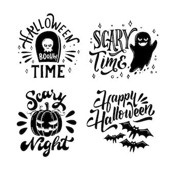 Ręcznie rysowane kolekcja odznak halloween