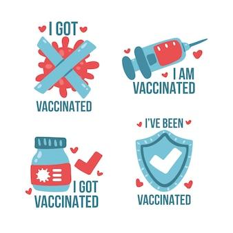 Ręcznie rysowane kolekcja odznak kampanii szczepień