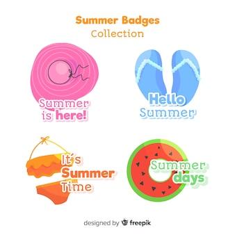 Ręcznie rysowane kolekcja odznak lato