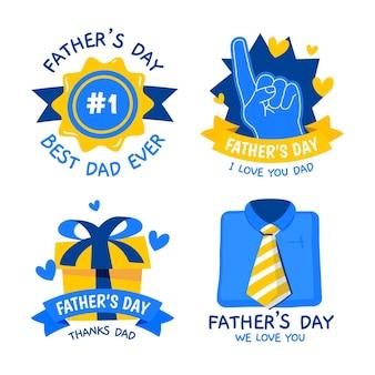 Ręcznie rysowane kolekcja odznak na dzień ojca