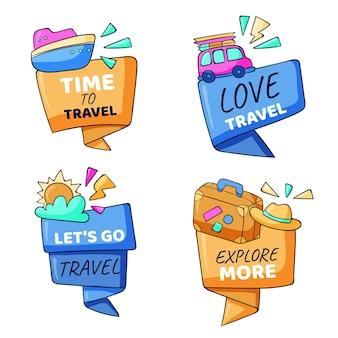 Ręcznie rysowane kolekcja odznak podróży