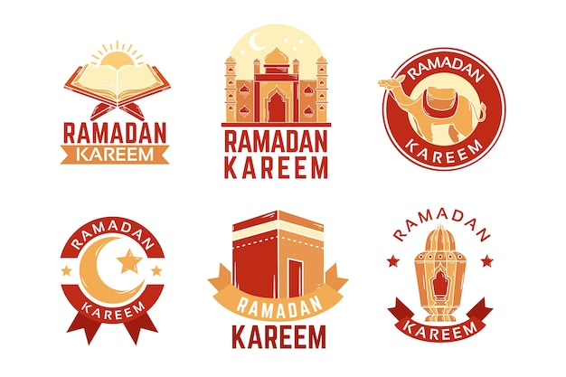 Ręcznie rysowane kolekcja odznak ramadan
