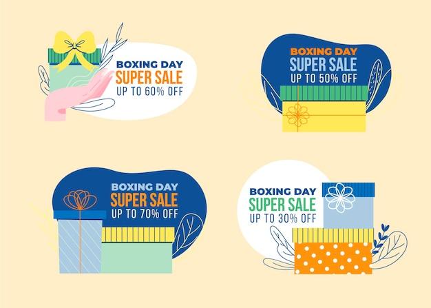 Ręcznie rysowane kolekcja odznak sprzedaż boxing day
