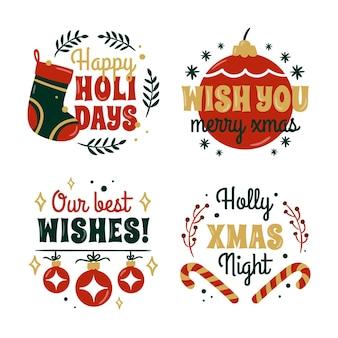 Ręcznie rysowane kolekcja odznak świątecznych