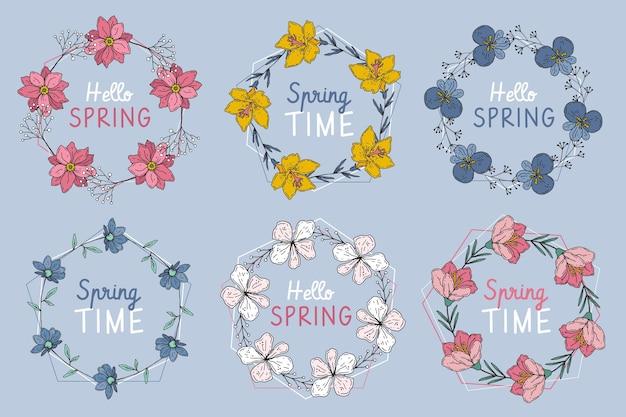 Ręcznie rysowane kolekcja odznak wiosna