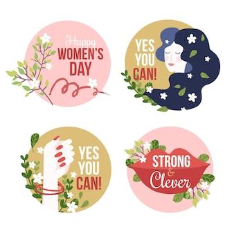 Ręcznie rysowane kolekcja odznak z okazji międzynarodowego dnia kobiet