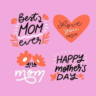 Ręcznie rysowane kolekcja odznaka dzień matki