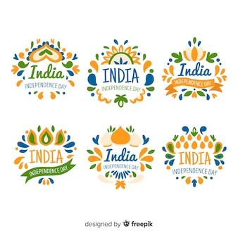 Ręcznie rysowane kolekcja odznaka dzień niepodległości indii