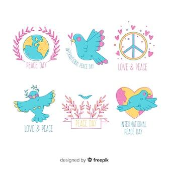 Ręcznie rysowane kolekcja odznaka dzień pokoju