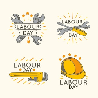 Ręcznie rysowane kolekcja odznaka dzień pracy