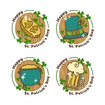 Ręcznie rysowane kolekcja odznaka dzień świętego patryka