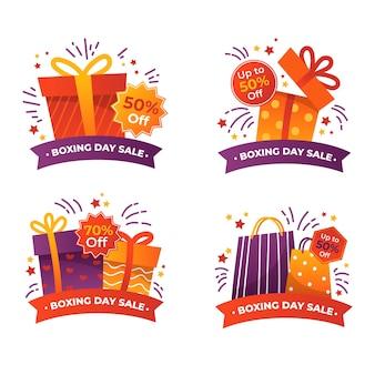 Ręcznie rysowane kolekcja odznaka sprzedaż drugi dzień świąt
