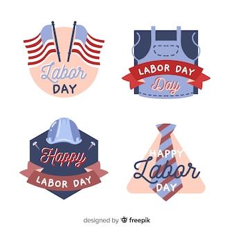 Ręcznie rysowane kolekcja odznaka święto pracy