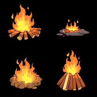 Ręcznie rysowane kolekcja ogniska