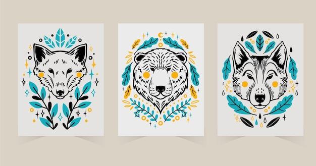 Ręcznie rysowane kolekcja okładek dzikich zwierząt animals