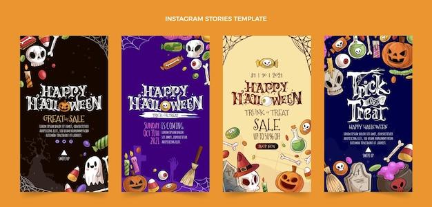 Ręcznie rysowane kolekcja opowiadań halloweenowych na instagramie