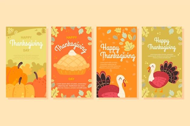 Ręcznie rysowane kolekcja opowiadań na instagramie dziękczynienia