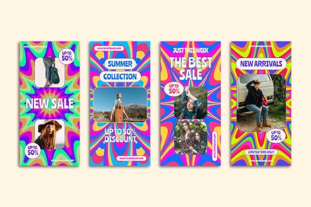 Ręcznie rysowane kolekcja opowiadań na instagramie groovy sprzedaż
