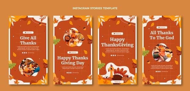 Ręcznie rysowane kolekcja opowiadań na instagramie z płaskim dziękczynieniem