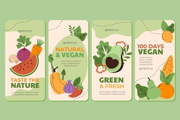Ręcznie rysowane kolekcja opowiadań na instagramie z płaskim jedzeniem wegetariańskim
