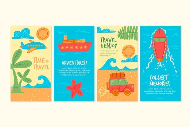 Ręcznie rysowane kolekcja opowiadań na instagramie z podróży