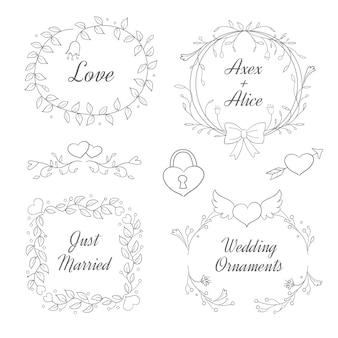 Ręcznie rysowane kolekcja ozdób ślubnych