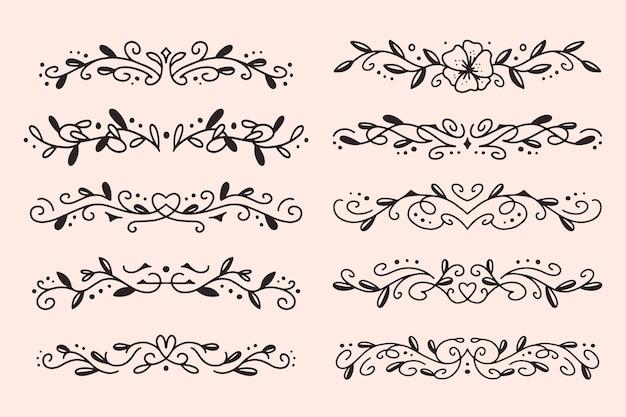Ręcznie rysowane kolekcja ozdobnych przegródek