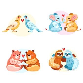 Ręcznie rysowane kolekcja par zwierząt