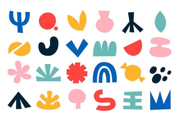 Ręcznie rysowane kolekcja płaskich abstrakcyjnych kształtów