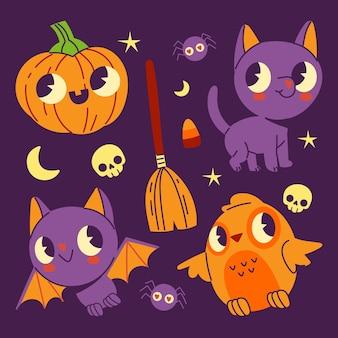 Ręcznie rysowane kolekcja płaskich elementów halloween