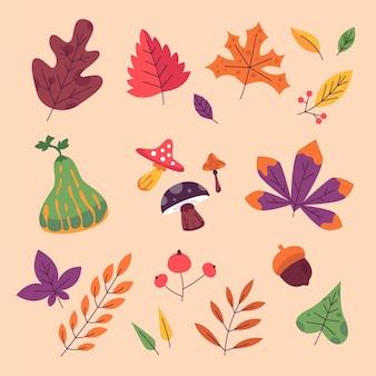 Ręcznie rysowane kolekcja płaskich jesiennych elementów