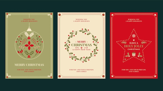 Ręcznie rysowane kolekcja płaskich ozdobnych kartek świątecznych