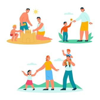 Ręcznie rysowane kolekcja płaskich scen rodzinnych
