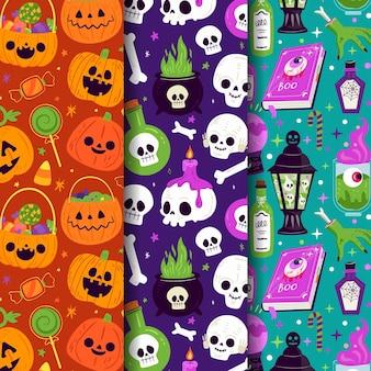 Ręcznie rysowane kolekcja płaskich wzorów halloween