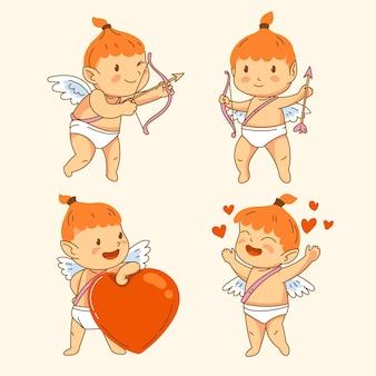 Ręcznie rysowane kolekcja postaci amora